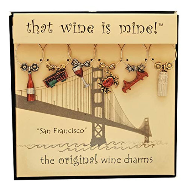 San Francisco Themed Painted Wine Charms