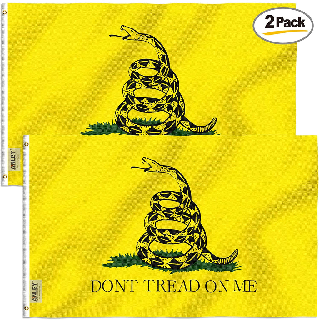 3x5 Foot Don't Tread On Me Gadsden Flag Tea Party Flags Polyester with Brass Grommets  (2 Pack)