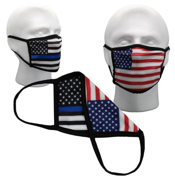 American Flag Thin & Blue Line Flag Reversible 2 sided Face Mask Covering