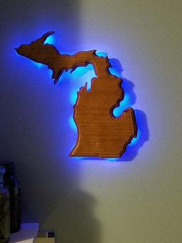 State of Michigan - Wall Mounted L.E.D. Illuminated Solid Cherry Display
