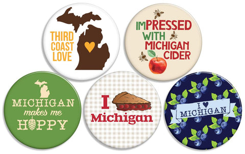 5 Pack of Michigan Buttons