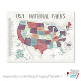 Personalised National Parks USA Map, Our Adventures, Soft watercolor Autumn Print, Outdoor Adventure Gift, Hiking Mountain Nature Map Poster