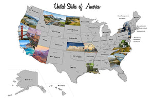 "USA State Scratch Off Travel Map -Large 32"" by 24"" Frameable Poster - Customized Photographed for Each US State"