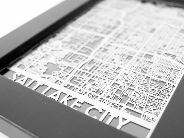 Salt Lake City Utah Stainless Steel Cut Map 5x7 framed