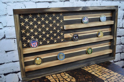 American Flag Shadow Box Wood  Military Coin Holder Display