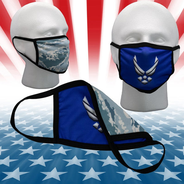 USAF Mask United States US Air Force Mask abu Camo 2 Layer Washable Reversible 2 sided Face Cover w/ Filter Pocket opening USA Military