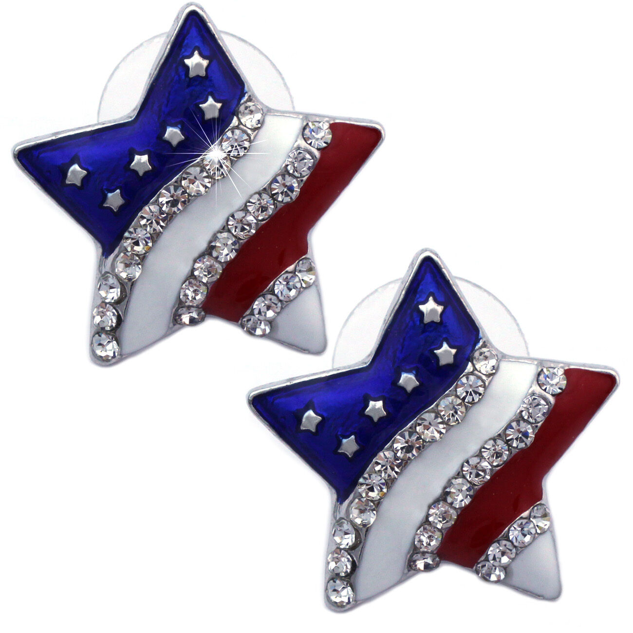 American Flag Patriotic Red Blue Star Stud Earrings