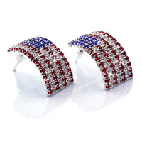 USA US Patriotic American Flag Curved Rectangular Stud Post Earrings Jewelry