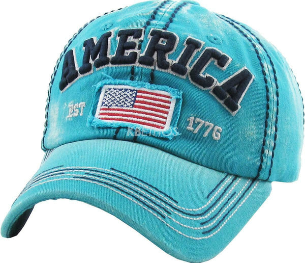 Vintage America Stitched Distressed Hat Baseball Cap