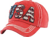America USA Flag Vintage Distressed Hat Baseball Cap Washed