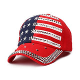 American Flag Hat for Women Patriotic Baseball Rhinestone Bling