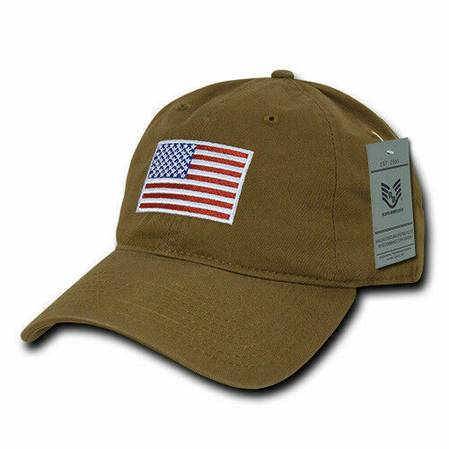 US American Flag Patch Polo Tonal Washed Cotton Baseball Hat Cap Relaxed Fit USA