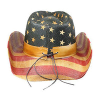 Men's Vintage Tea-Stained USA American Flag Shape-It Brim Cowboy Hat w/ Western