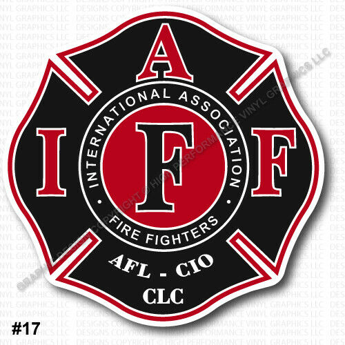 "IAFF Firefighter Decal 3.7"" Sticker Black Red White Laminated"