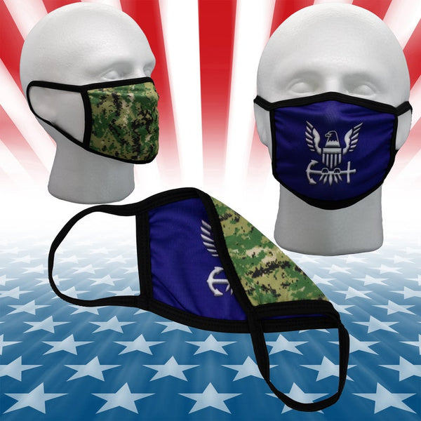 U.S. Navy Type III Camo 2 Layer Reversible 2 sided Face Mask Cover w/ Filter Pocket Opening USA Military