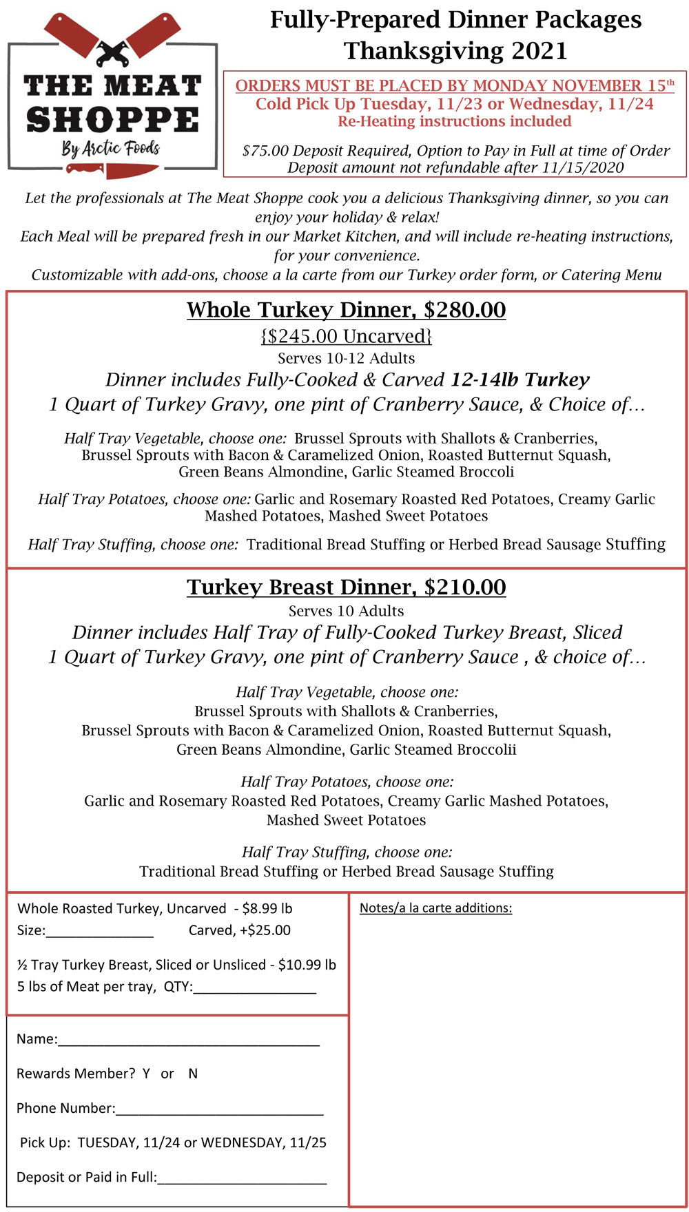 thanksgiving catering order form