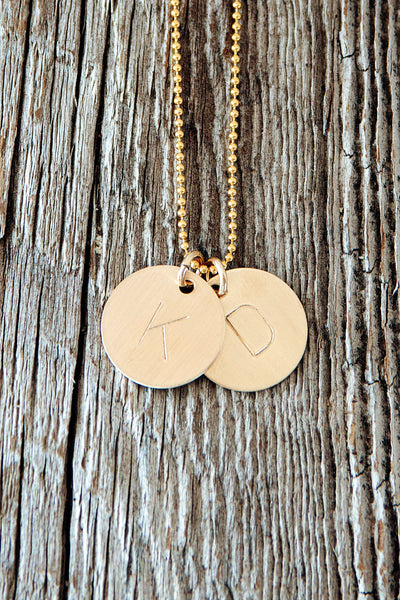 Large Initial Gold Monogram Necklace