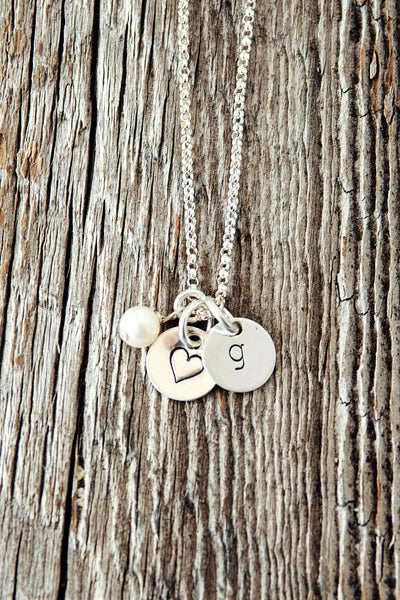 Tiny Initial Necklace in Sterling Silver
