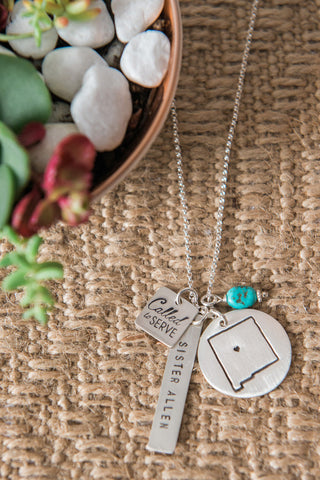 Called to Serve Missionary Map Necklace