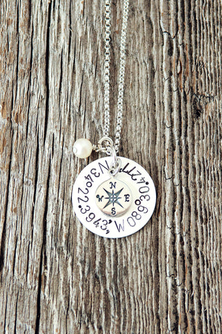 Coordinate Compass Necklace