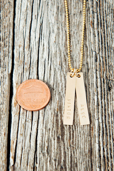 Two Name Custom Gold Bar Necklace