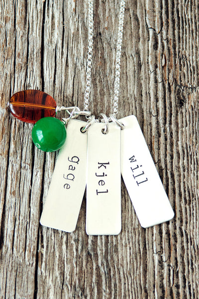 Rectangle Personalized Family Name Necklace