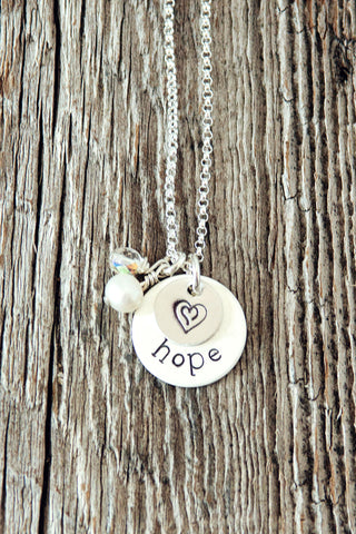 Double Heart Hope Necklace