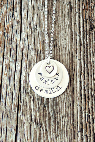 Stacked Custom Name Necklace with Heart