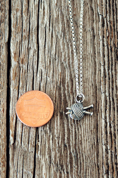 Knitting Needles and Ball of Yarn Silver Charm Necklace