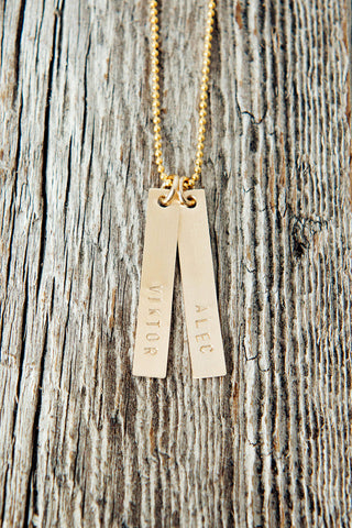 Gold Bar Two Name Rectangle Necklace