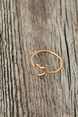 Open Heart Ring // Sterling Silver & 24K Gold