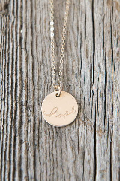 Hand Lettered Hope Necklace