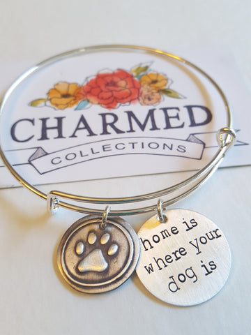 Home Is Where My Dog Is Paw Print Bangle Bracelet