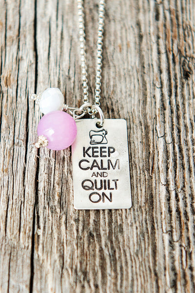 Keep Calm and Quilt On Necklace