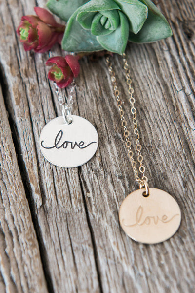 Hand Lettered Love Necklace