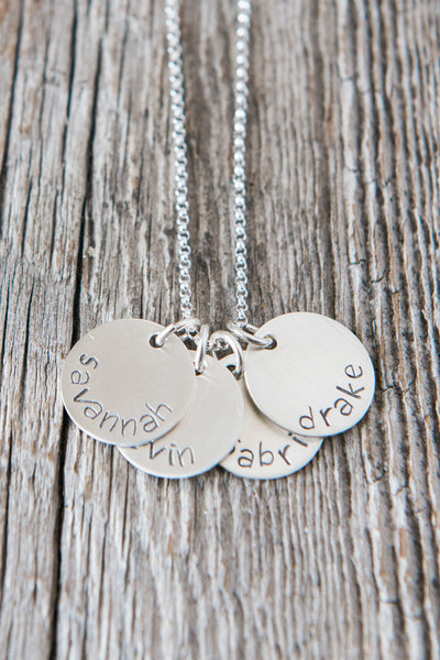 Four Name Custom Silver Necklace