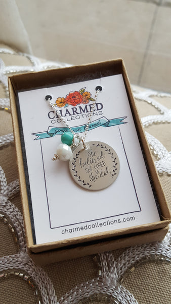 She Believed She Could Sterling Silver Necklace