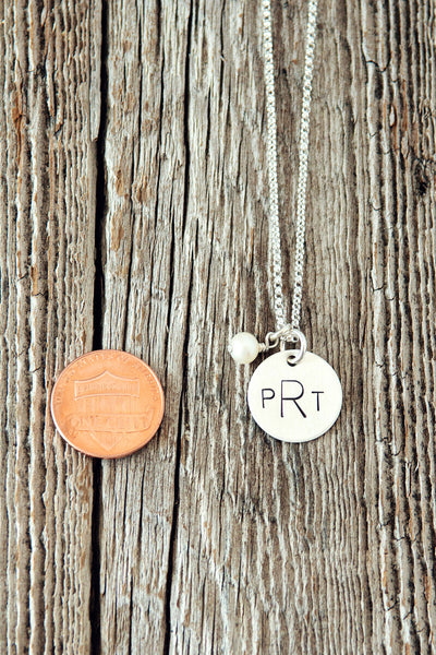 Small Three Initial Monogram Necklace