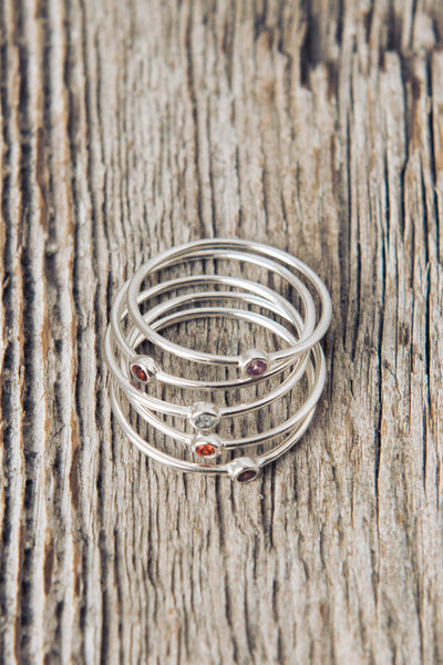 Birthstone Mother's Rings | Birth Stone Stack Ring