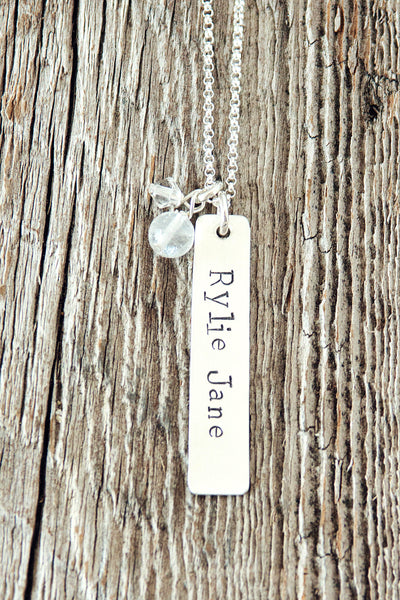 Sterling Silver Rectangle Charm Necklace