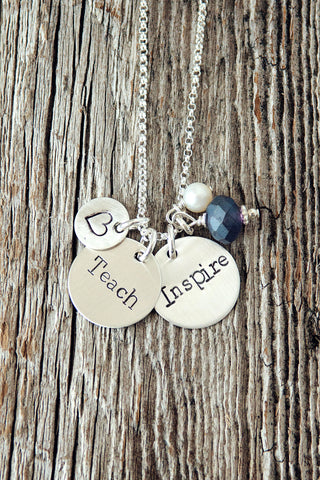 Teach and Inspire Teacher Necklace