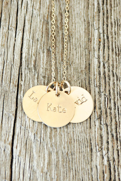 Three Name Custom Gold Necklace