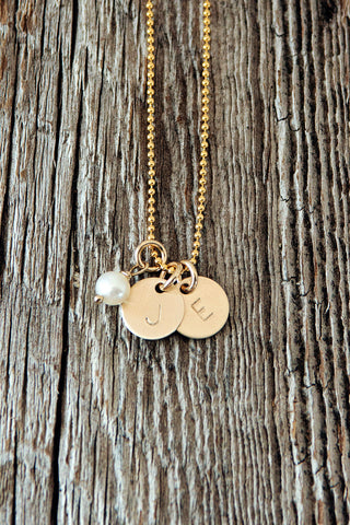 Tiny Initial Necklace in Gold