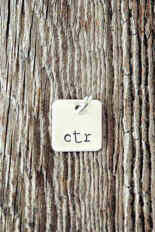 Tiny Sterling Silver Square Charm