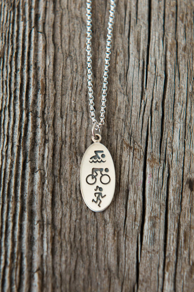 Triathlon Sterling Silver Charm Necklace