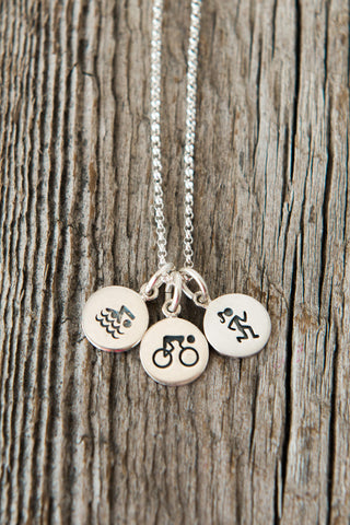Triathlon Sterling Silver Three Charm Necklace