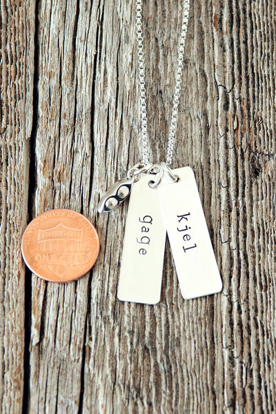 Two Name Personalized Pea Pod Mother Necklace