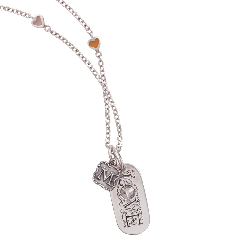 Love Pendant with Crest Insignia on Storied Heart Chain