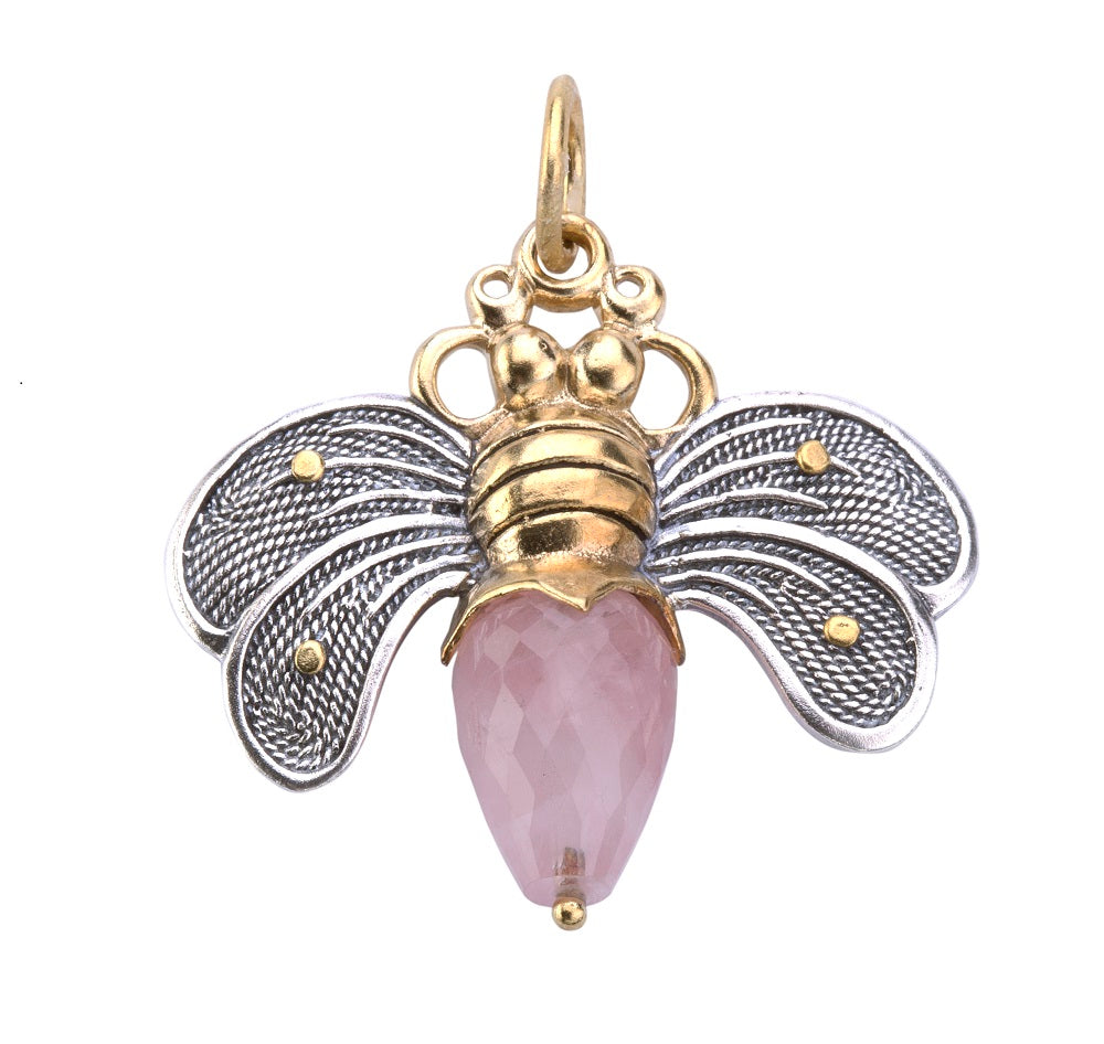 Bee Brave Pendant in Rose Quartz