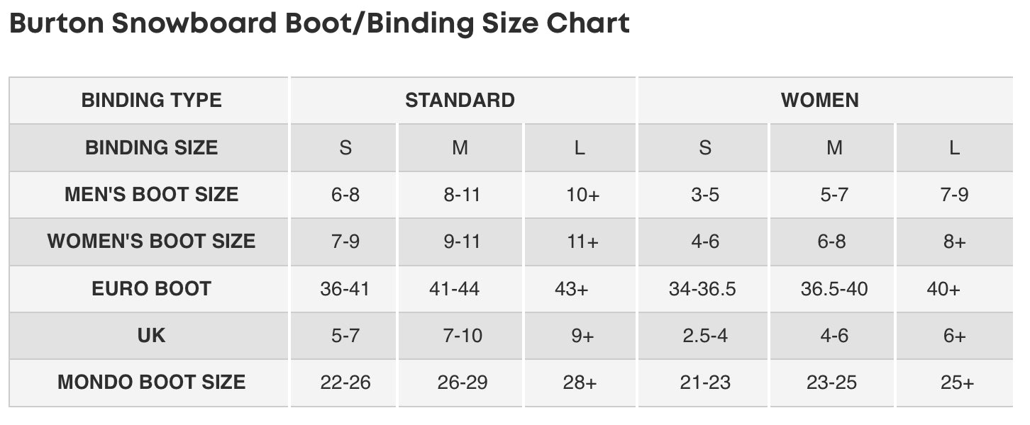Burton Binding Sizing Guide